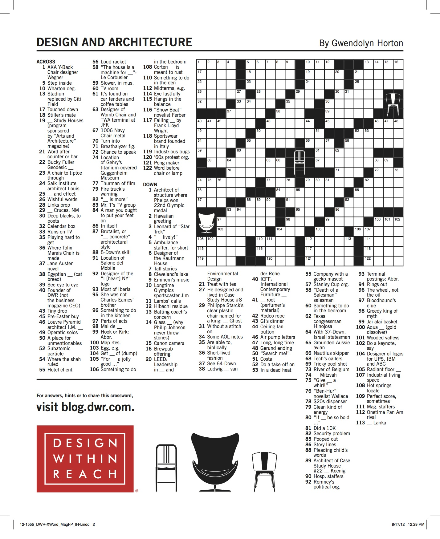 A crossword puzzle for lovers of design architecture for Interior designs xword