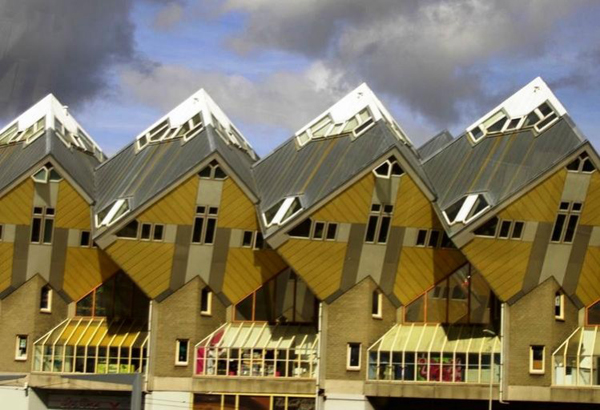 In The Netherlands Tilted Cube Shaped Roofs Group Houses