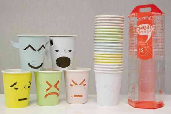 adorable paper cups with tear off emoticon faces designtaxi com