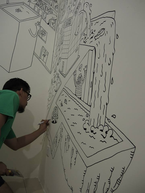 Bedroom Drawing: Creative Dad Decorates His Son's Bedroom Wall By Drawing A