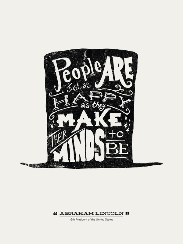 handlettered typographic posters of quotes from famous