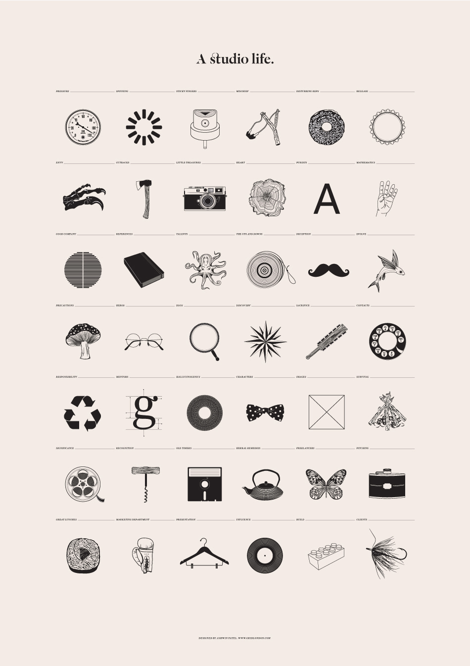 Poster design tools - In Minimalistic Poster Designer Outlines The Typical Life Of A Design Studio