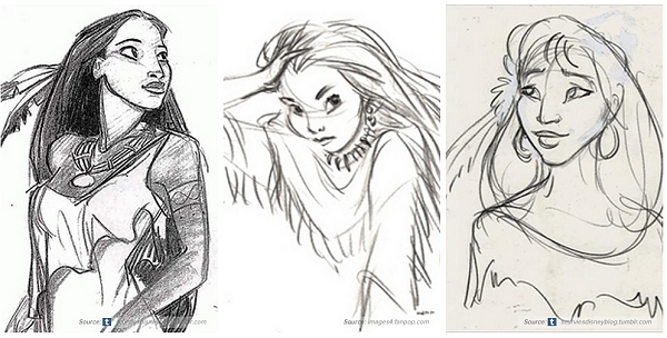 Disney Princess Character Design : Early concept artworks and sketches of disney characters