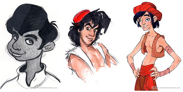 Disney Aladdin Character Design : Early concept artworks and sketches of disney characters