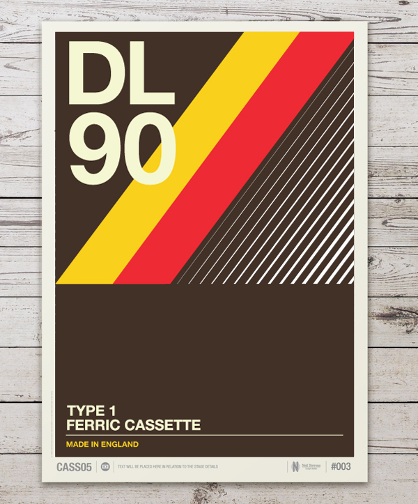 retro graphic design of cassette labels turned into gorgeous typographic posters designtaxicom