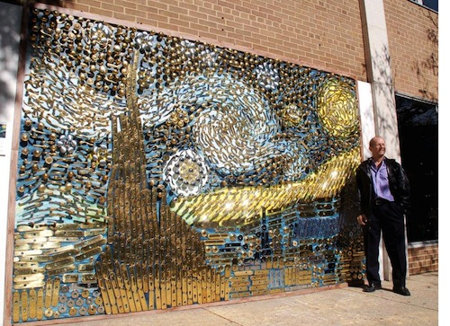 A Mural Of Van Gogh S Starry Night Created From Old Door