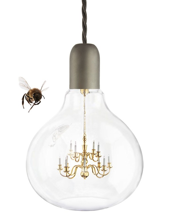 A quirky lamp featuring a tiny chandelier encased in a light bulb a quirky lamp featuring a tiny chandelier encased in a light bulb mozeypictures Images