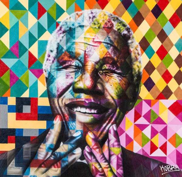 Colorful large scale murals of nelson mandela gandhi for Mural eduardo kobra