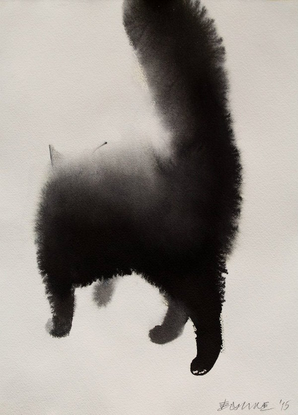 Striking Watercolor Paintings Of Mysterious Cats