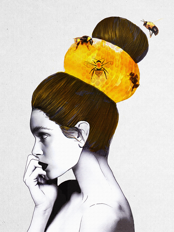 Whimsical fashion illustrations that are inspired by for The beehive rome