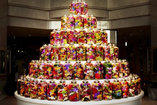 An Unusual Birthday Cake Made Out Of Colorful Bottled Flowers