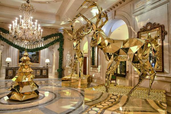 A hotel in paris with stunningly beautiful christmas for 4 seasons decoration