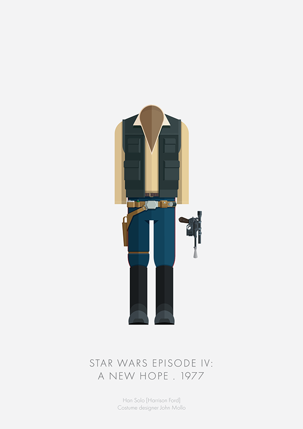 Minimalist illustrations of famous costumes from hollywood for Famous minimalist designers