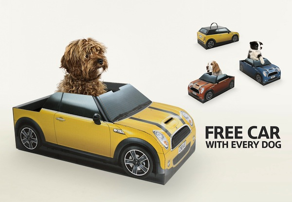 MINI Gives Newly Adopted Puppies Free Topless 'Car' As Dog Beds - DesignTAXI.com