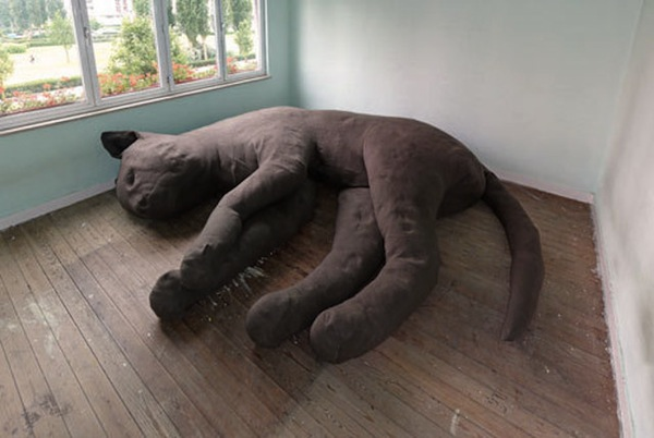 A whimsical couch that is shaped like a gigantic cat for Couch you can sleep on
