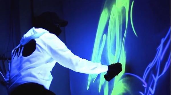 Using Fluorescent Spray Paint  Artist Creates Awesome Glow-in-the Dark Graffiti