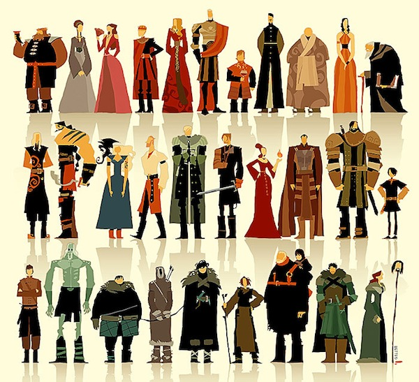 A Stylized Illustration Of 30 'Game Of Thrones' Characters