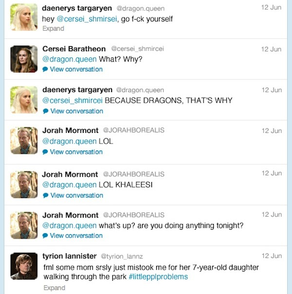 If Game Of Thrones Characters Had Twitter Designtaxi Com