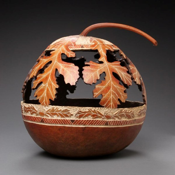 Wonderfully intricate carvings created on gourds