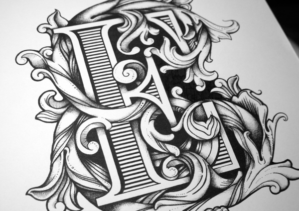 Intricate Hand Drawn Typographic Illustrations Filled