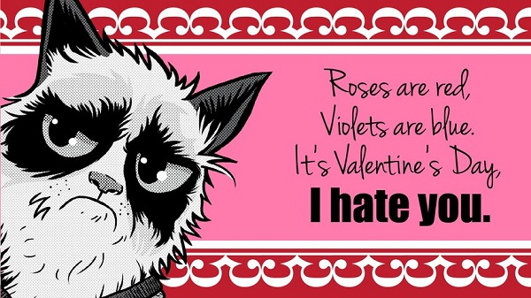 hate valentines day dont worry you arent the only one because the internets grumpiest cat is with you - E Valentines Cards