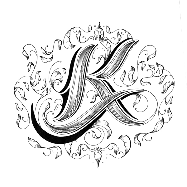 intricately hand-drawn alphabet with individually designed letters