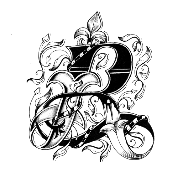 Tattoo Designs Letter B: Intricately Hand-Drawn Alphabet With Individually Designed