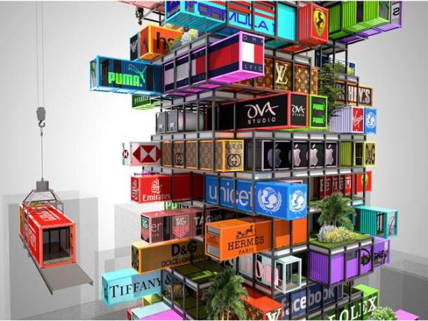 A shape shifting jenga like hotel made from recycled shipping containers - The hive inn hotel ...