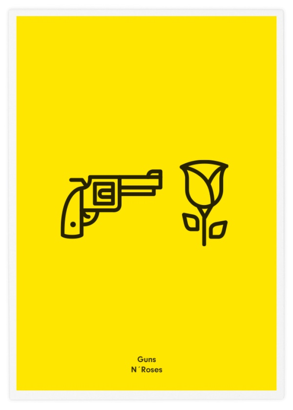 Minimalist icon posters of famous rock bands for Dessin minimaliste