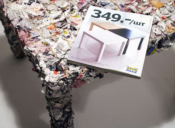 An Ikea Table Made Entirely With The Pages Of Old Ikea