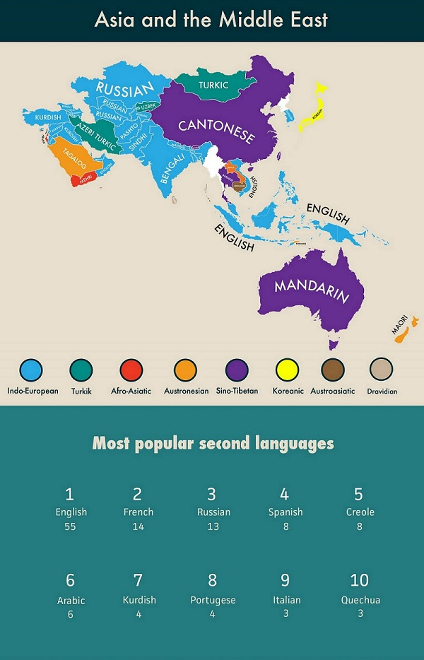 Infographic Second Languages Around The World DesignTAXIcom - How languages in the world
