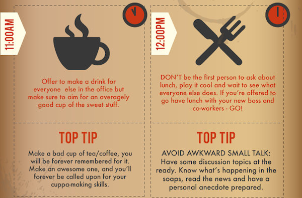 Infographic How To Survive Your First Day At Work Designtaxi Com