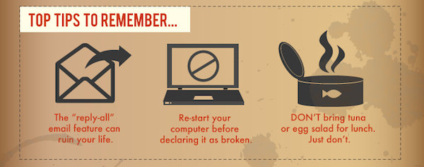 Infographic: How To Survive Your First Day At Work - DesignTAXI.com