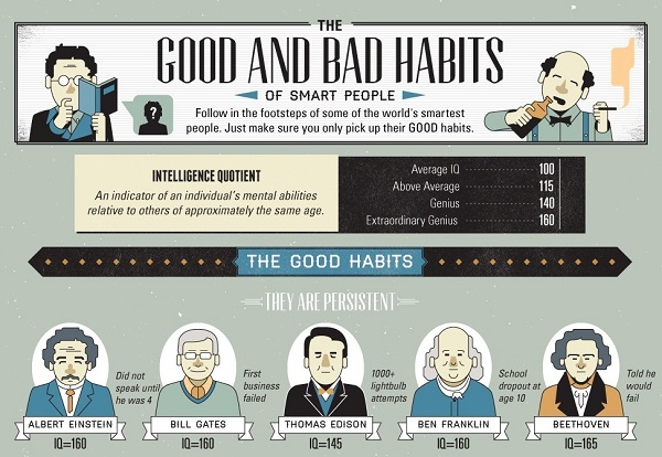Infographic: The Good And Bad Habits Of Smart People - DesignTAXI.com