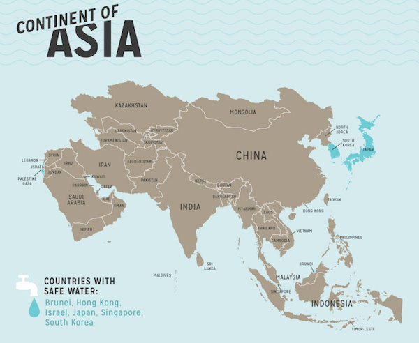 Infographic reveals where in the world it is safe to drink