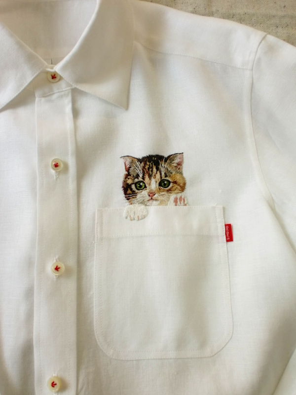 Artist Embroiders Adorable Cats Peeking Out Of Shirt
