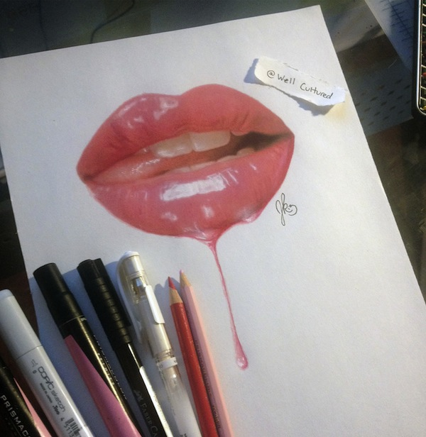 Realistic 3D Drawings Of Seductive Lips, Eyes Made With Color Pencils, Pens -9066
