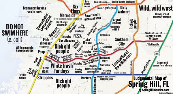 5 funny judgmental maps that poke fun at stereotypes found in us