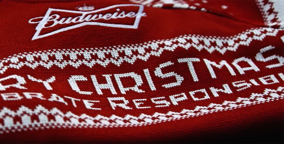 Budweiser Makes Christmas Sweaters With Tweet Powered