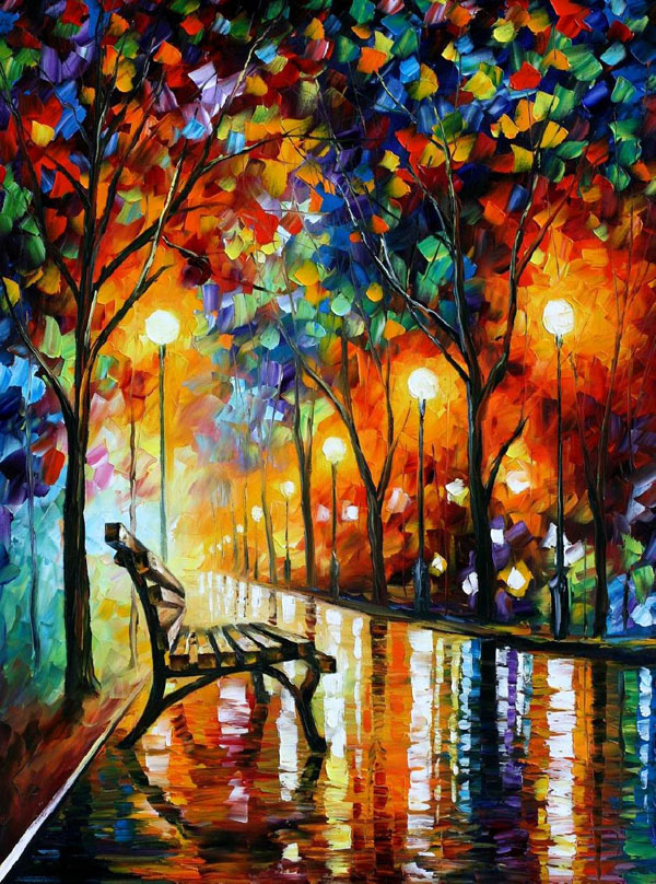 vibrant colorful paintings created with a palette knife. Black Bedroom Furniture Sets. Home Design Ideas