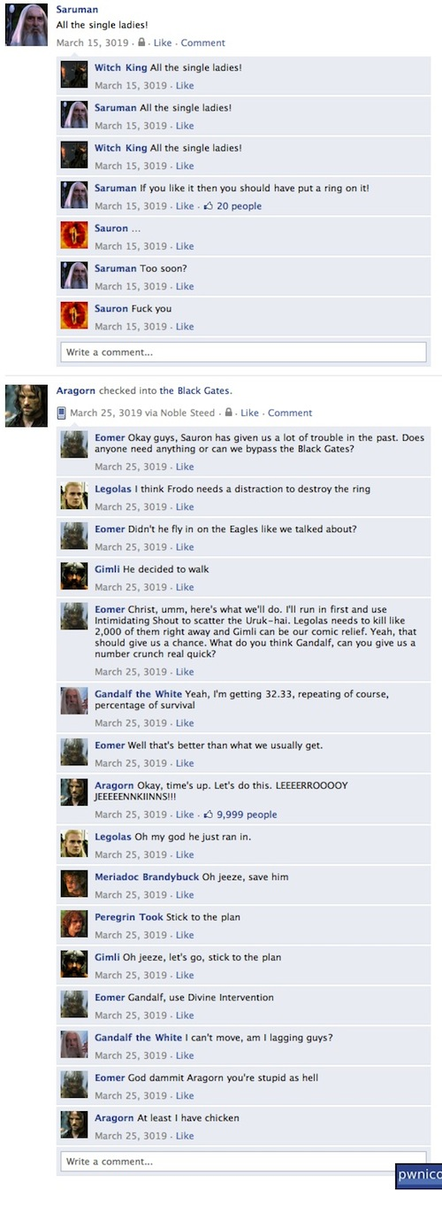 If 'Lord Of The Rings' Characters Were On Facebook…