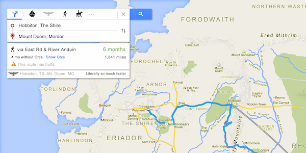 Brilliant \'Lord Of The Rings Google Map\' Shows You The Way To Mordor ...