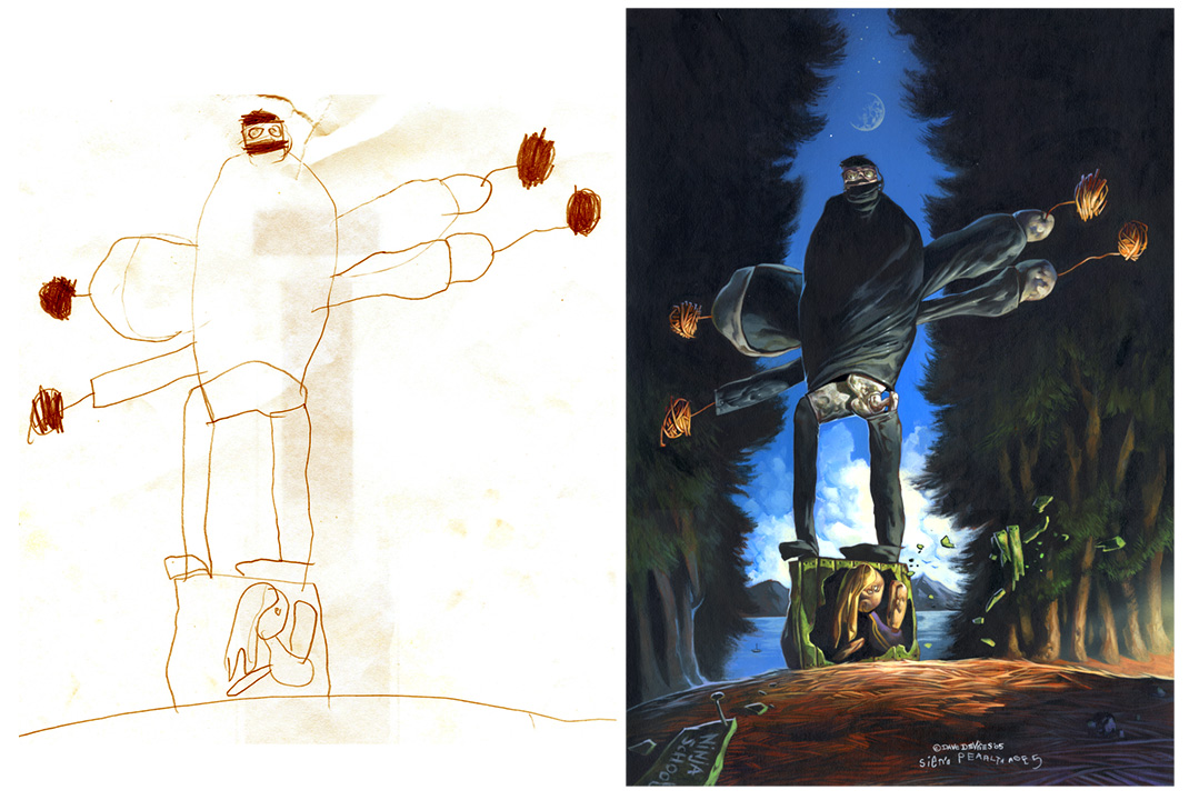 Starting with children's sketches of monsters, artist Dave DeVries ...