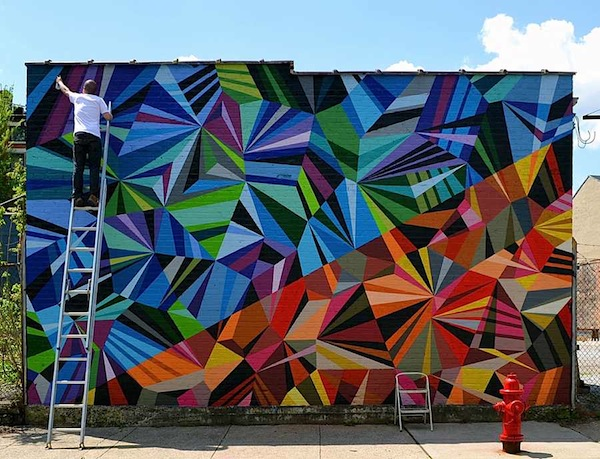 Geometric graffiti art brings together a beautiful mix of for Examples of mural painting