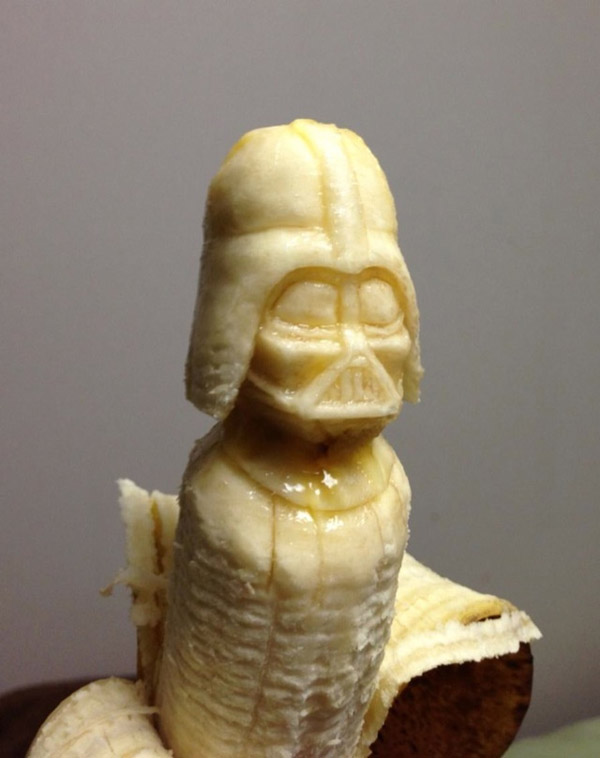 Banana Sculptures Made Using A Toothpick And A Spoon