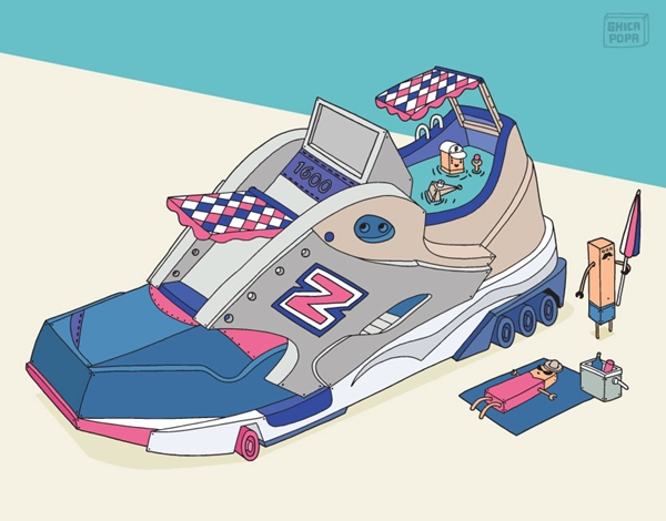 Colorful Illustrations Depict Sneakers As Imaginative Vehicles