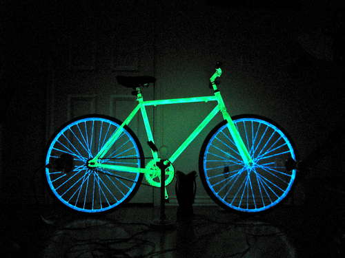 how to make your bike glow in the dark for safer night riding. Black Bedroom Furniture Sets. Home Design Ideas