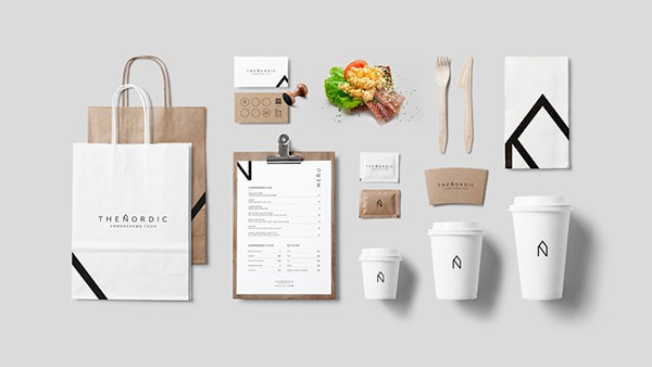 The chic minimalist logo branding identity of a for Food truck design app