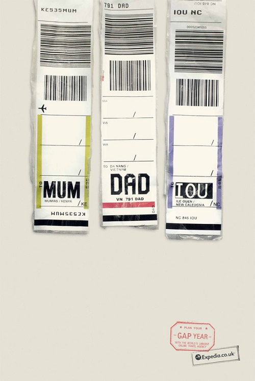 witty use of airport luggage tags in ad campaign