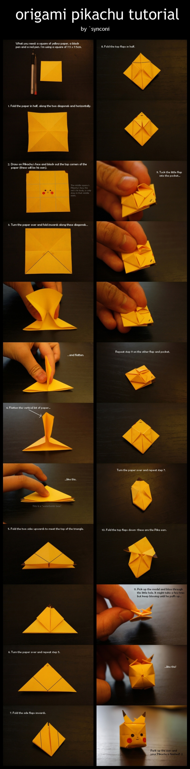 how to make your own origami pikachu designtaxicom
